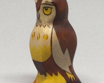 Toy Owl wooden brown white yellow orange Size: 3,0 x 6,5  x 2,0 cm (bxhxs)  approx. 14,5 gr.