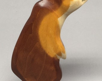 Toy bear wooden brown colourful  standing on two feet Size: 9,0 x 13,8 x 2,8 cm (bxhxs)  ca. 100,0 gr.