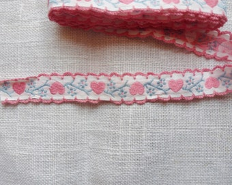 Pink Heart Embroidery Trim from the 50s, 1  yd, Pink Hearts on Blue Vines Trim 1/2""