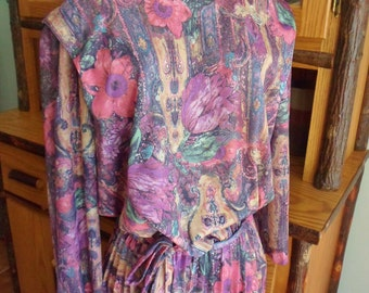 Lane Bryant Dress, Size 14, Full Length Long Sleeve Floral Dress