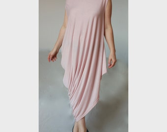 Plus Size Asymmetric Dress / XXL XXXL Cut Shoulder Caftan / Plus Size Off Shoulder Dress / Caftan Dress/ Wide Tunic/Dusty Pink Jersey/ DR007