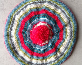 Children's Hat, Beret, Tam, Hand Knitted, UK seller, 40's Style, Pure Wool,