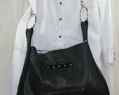 Black Leather Shoulder Bag Cross Body Upcycled Leather Purse Large Black Leather Bag Again