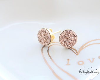 Druzy Earrings Studs Druzy Earrings GOLD Stud Earrings Druzy stud earrings Rose gold druzy earrings Rose Gold