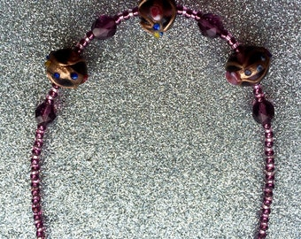Necklace Venetian style triple Amethyst Colour Rosebud Detail crystal and glass bead-Ladies Jewellery-Womens Gifts-Gifts For Her-Ladies Gift