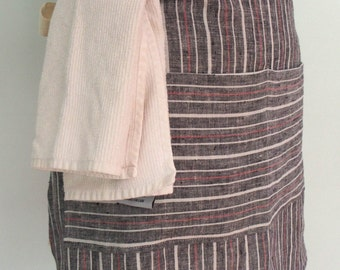 Black and Red Stripe Half Apron with Pocket and Towel Loop, Yarn Dyed Linen, Bistro Apron, Server Apron, Restaurant Apron, Gift for Waitress