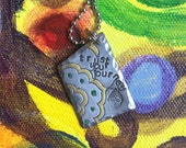 Trust Your Journey Hand Stamped Metal Hand Made Jewelry Quote Tag Charm Ornament Be Wild Free Crazy Rebel Rogue