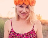 Autumn Orange Ranunculus Flower Crown - Flower Crown - Silk Flower Headband - Flower Halo - Dainty and Dapper