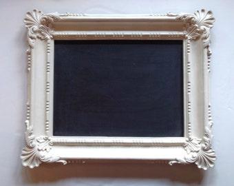 Wedding Framed Chalkboard, Ornate Vintage Blackboard, White Cottage Chic, Bridal Shower Gift