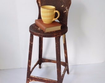 Rustic Metal Stool Kitchen Chair Industrial Vintage Shabby Toddler High Chair
