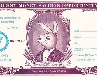 Vintage Gentelman's Magazine Playboy Subscription Card From January 1964 - Bunny Money - Columbia Record Club - Renewal - Music