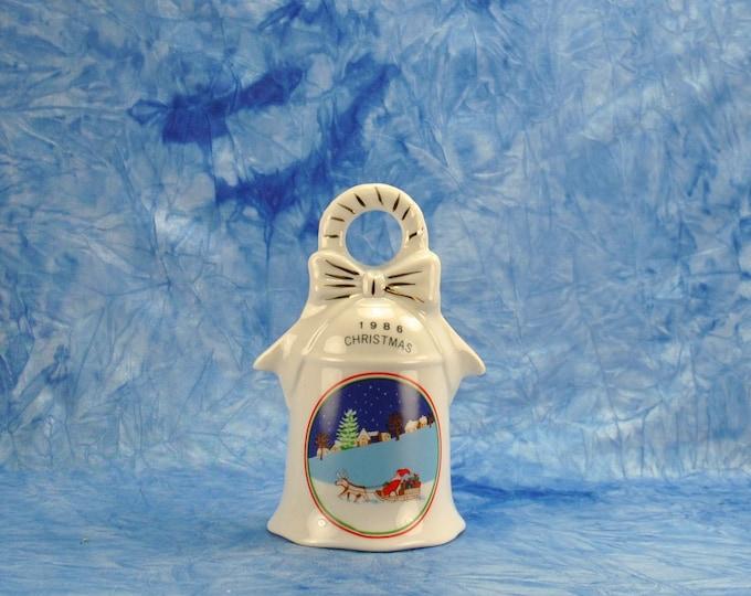 Vintage 1986 Christmas Bell, Santa In His Sleigh