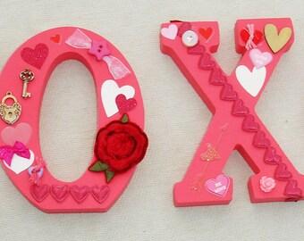 XOXO Block Letters - Handmade Valentine's Day Decor