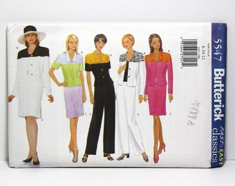 Uncut Sewing Pattern, Misses Jacket, Skirt, and Pants, Butterick 5547, Colorblock Suits, Classic Fashion, Sizes 8, 10, 12