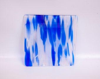Vintage Fused Glass Plate Cobalt Blue Streak Art Glass Dish Candle Holder Handmade