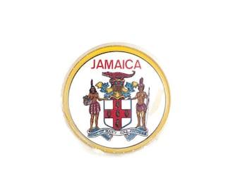 Vintage Round Playing Cards Jamaica Souvenir Full Card Set Circular Deck of Cards Jamaican Coat of Arms Barware Coasters Scrapbooking