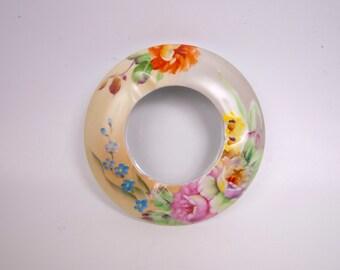 Vintage Narumi China Occupied Japan Ashtray Flower Garden Pattern Hand Painted Porcelain Barware