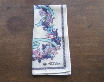 1980s Vintage Paolo Gucci Hankie - Turquoise/Purple Print Cotton Handkerchief - Rare, Collectible Gucci Hankie