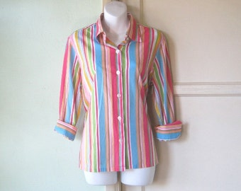 Pointy Collar Rainbow  Stripe Shirt - Nicely Tailored, Multi-Stripe Long Sleeve Shirt - Large, Striped Preppy Shirt - Striped Cotton Blouse