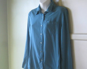 Rich Teal Blue Vintage Boyfriend Shirt - Teal-Marine Blue Oxford Collar Weekend Shirt; Medium-Large - Long Sleeve Teal Blouse