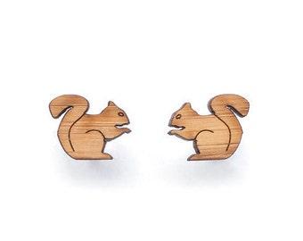 Squirrel earrings - animal earrings - squirrel jewelry - made in Australia - cute stud earrings