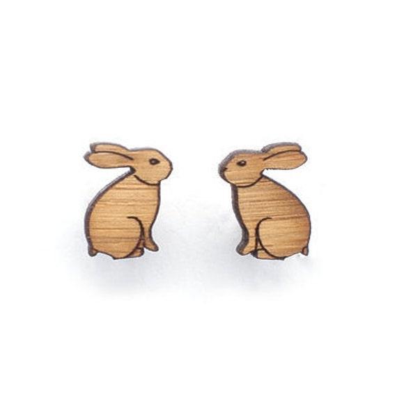 Rabbit earrings - rabbit stud earrings - Eco friendly laser cut wooden jewelry, cute bunny earrings