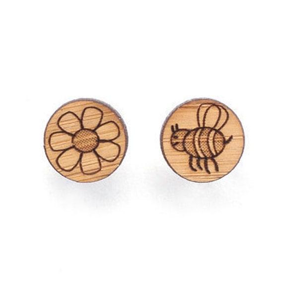Bee and flower stud earrings - studs - made in Australia