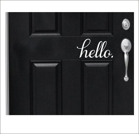 Hello door decal door vinyl lettering for door curb appeal for Door vinyl design