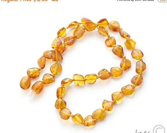 15% OFF THRU OCT Baltic Amber Baby Teething Necklace, Genuine Baltic Amber Cognac Beads