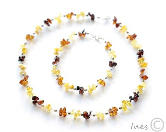 Baltic Amber Set, Beaded Amber Necklace and Bracelet, Baltic Amber Choker