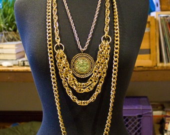 80s/90s Group of Vintage Necklaces Metallic Gold Layered Chain Medallion