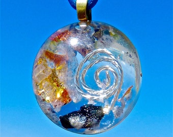 BLACK TOURMALINE and Blue Aventurine Positive Energy Orgone Dome Pendant with Silver Spiral and Gold and Copper Leaf. EMF Protection.