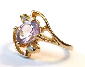Vintage Amethyst And Diamonds Gemstone 24KT Cocktail Ring