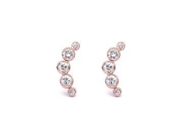 14k rose gold half moon diamond stud earrings