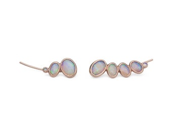 Opal ear climber in 14k gold, feminine, earrings, pair of asymmetric or matching ear climbers for everyday or wedding jewelry