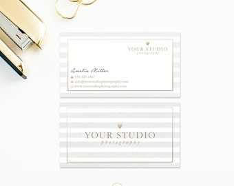 Business Card Template - Watercolor and Gold Photoshop Template - 3.5 x 2 Business Card - WHCC- Millers Photography Marketing SKU BC015