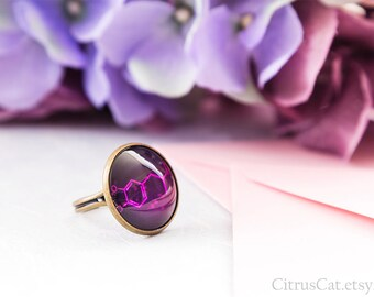 Ecstasy molecule purple ring, chemistry jewelry, molecule jewelry, molecular, science, chemistry ring, party jewelry, club jewelry