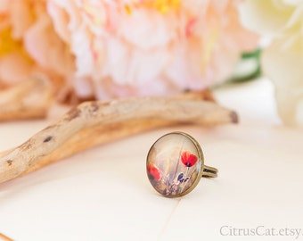 Red poppies ring, nature jewelry, poppies jewelry, rustic jewelry, woodland jewellery, floral ring, brown ring, green brown