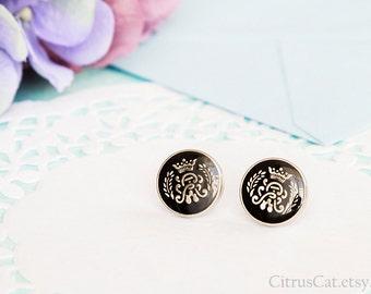 Royal crown black stud earrings, Queen earrings, laurel wreath, black studs, nautical jewelry, crown earrings, royal earrings