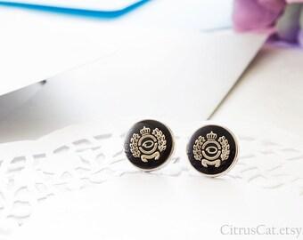 Royal crown black stud earrings, Queen earrings, laurel wreath earrings, black studs, nautical jewelry, crown earrings, royal earrings
