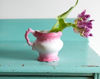 VintagepPink and white small porcelain vase, antique pink french vase, small flower vase, pink baby shower decor, pink home decor, pink vase