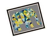 HALF OFF PATTERNS Sale Abstract Elephant Cross Stitch Pattern - Modern Cross Stitch Pattern - Origami Animal Cross Stitch Pattern - Geometri