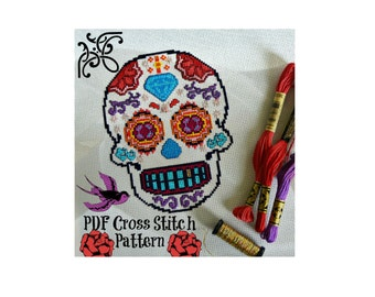 Sugar Skull Cross Stitch Pattern - PDF Pattern - Halloween Cross Stitch Pattern - Modern Cross Stitch Pattern