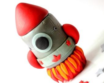 Fondant Rocket Ship Cake Topper - Fondant Rocketship Cake Topper - Rocket Cake Topper - Fondant Space Rocket Topper - Space Fondant Topper