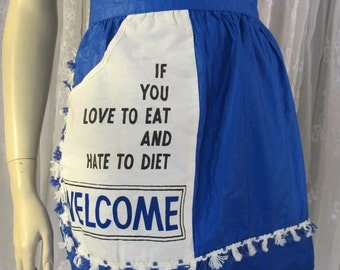 Vintage 80's blue and white polished cotton hostess apron