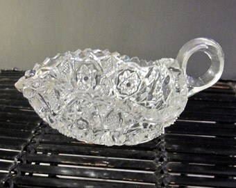 Vintage mid century tri pointed cut glass  candy dish