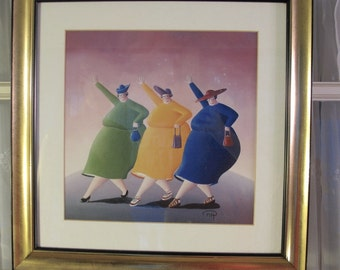 "Vintage 90's three fat ladies out shopping framed print 19"" x19"""