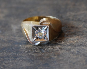 Vintage Clark and Coombs Ring 10K Gold Filled Clear Rhinestone Mens Ring Size 9 1/2 Mid Century 1960's // Vintage Designer Costume Jewelry