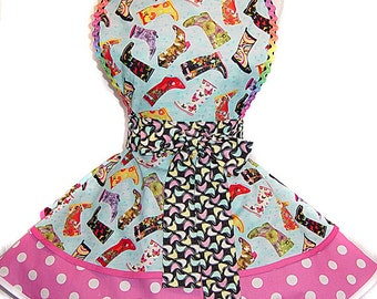 """Exclusive Spring Apron """"April Showers"""" Retro Apron-Ready To Ship & Only from Tie Me Up Aprons"""
