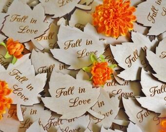 100 Personalized Bulk Leaf Wedding Favors, Engraved Wood Leaves, Wedding Favors, Personalized Favors, Fall Wedding, Autumn Wedding Favors
